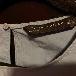 Zara Woman Light Blue Jacket with adjustable waist